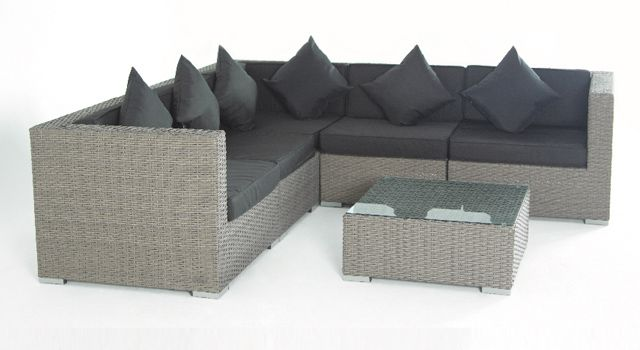 villa cabana wicker sectional sofa, arm chair, coffee table