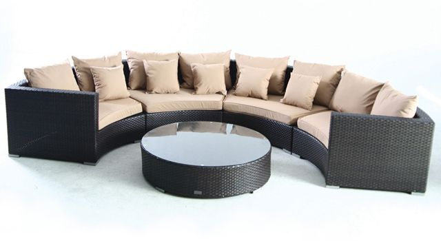 villa cabana wicker sectional couch with coffee table