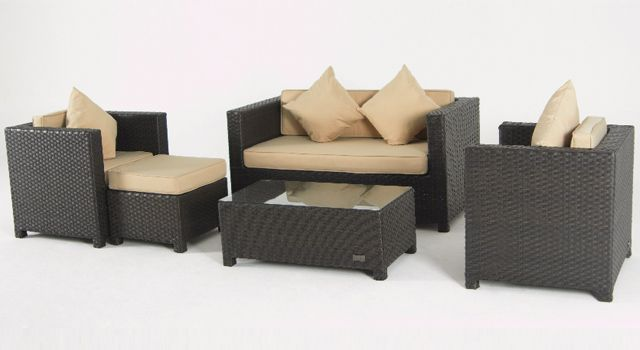 villa cabana wicker love seat, coffee table, arm chairs
